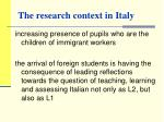 the research context in italy
