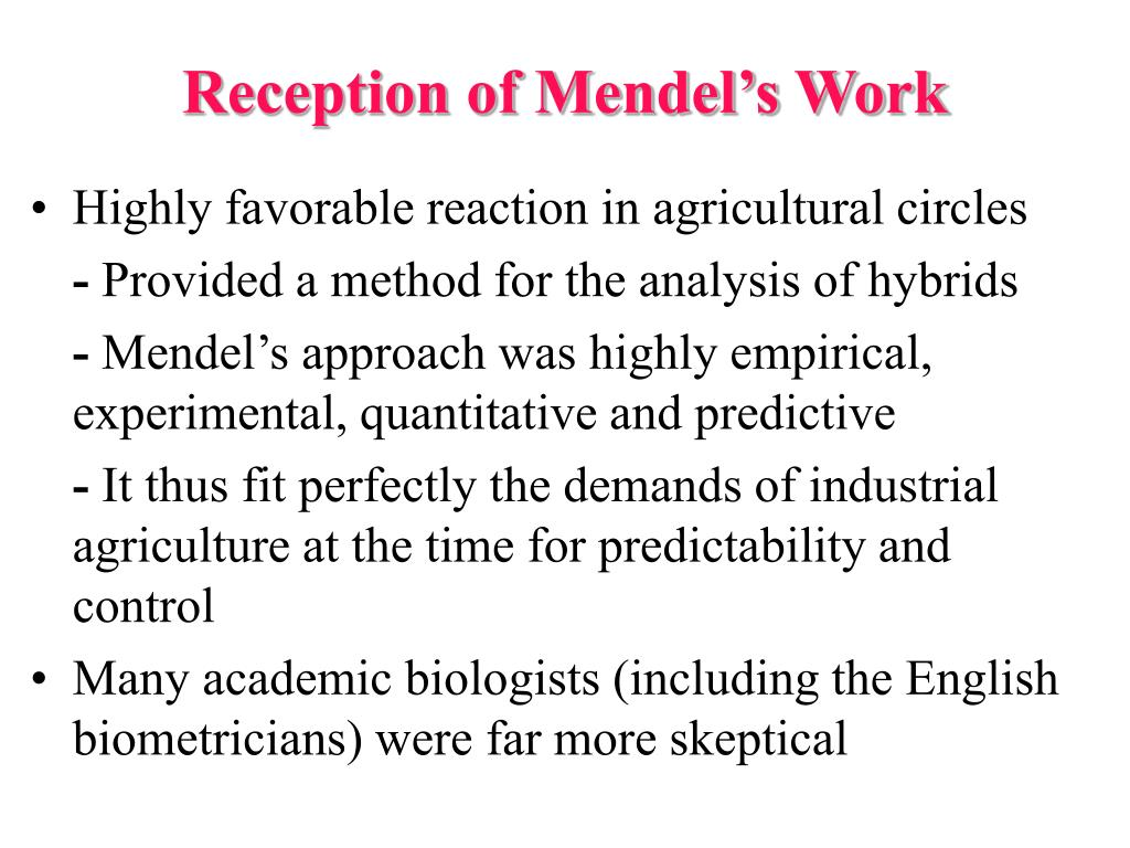 Reception of Mendel's Work
