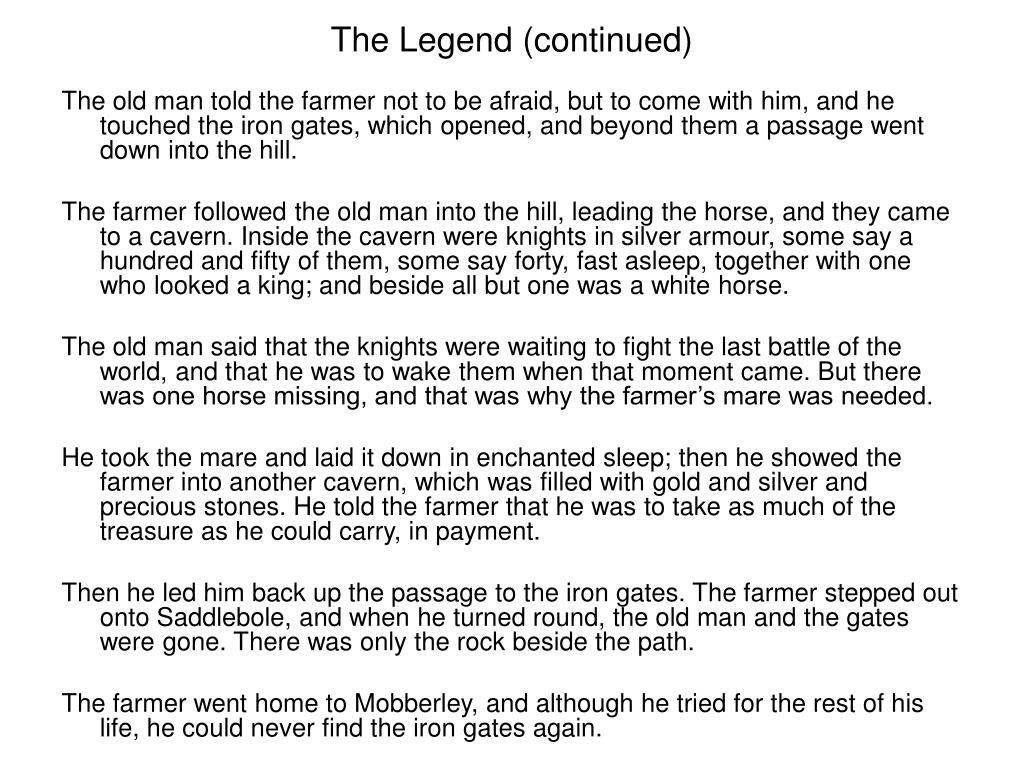 The Legend (continued)