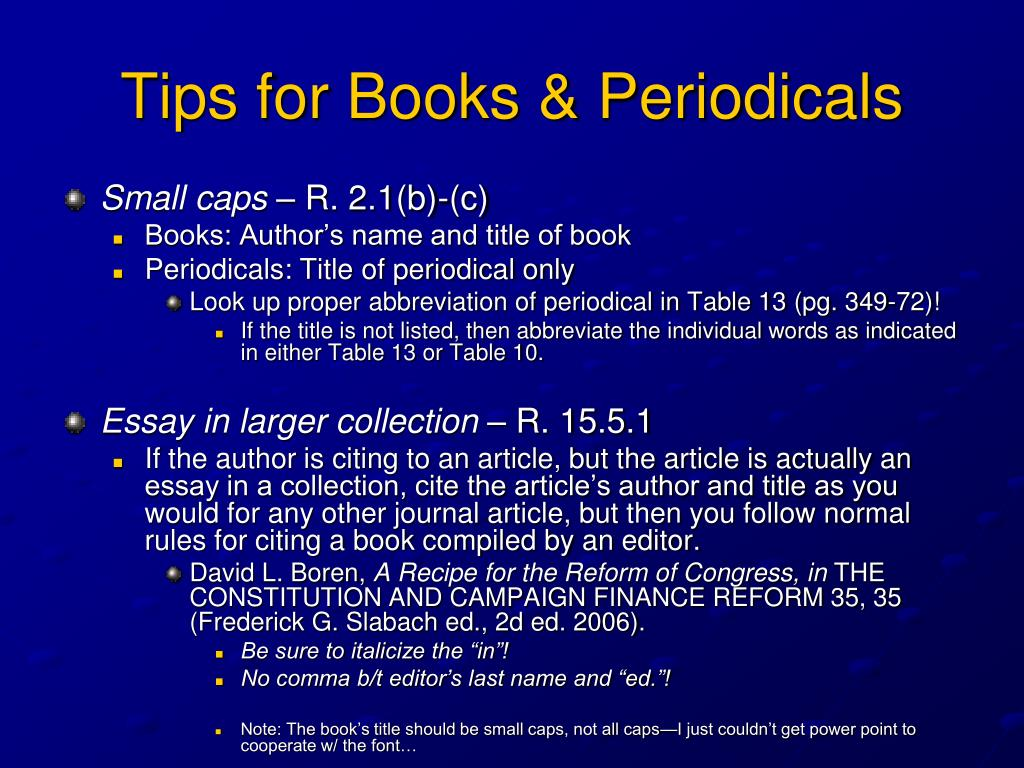 Tips for Books & Periodicals