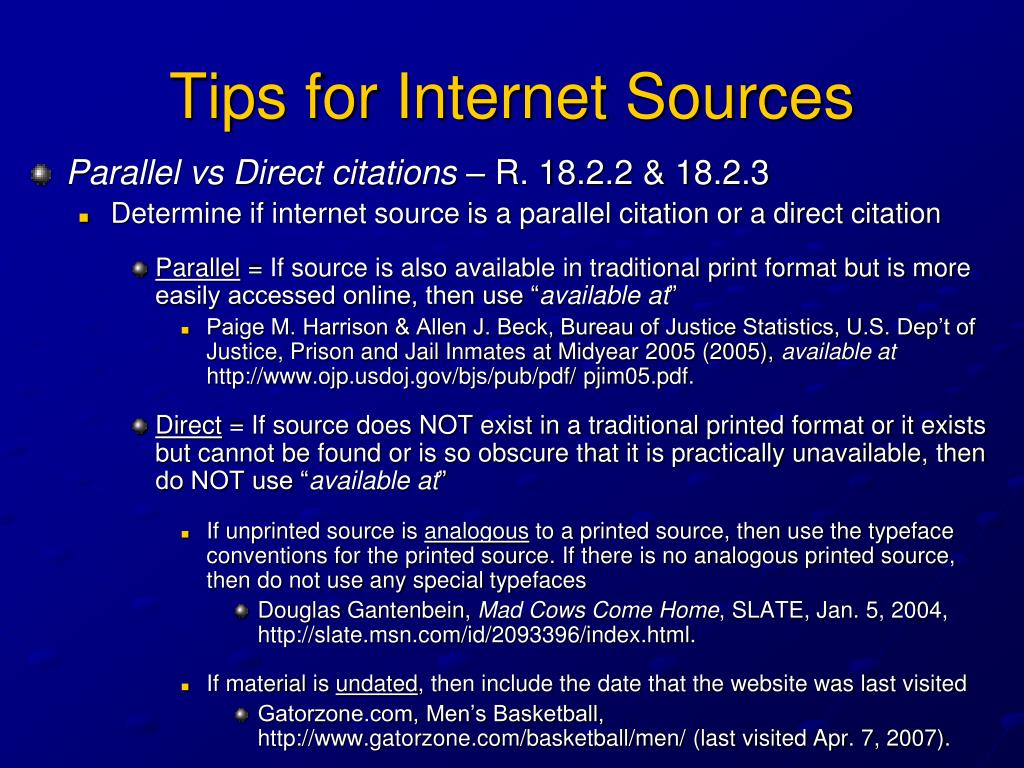 Tips for Internet Sources