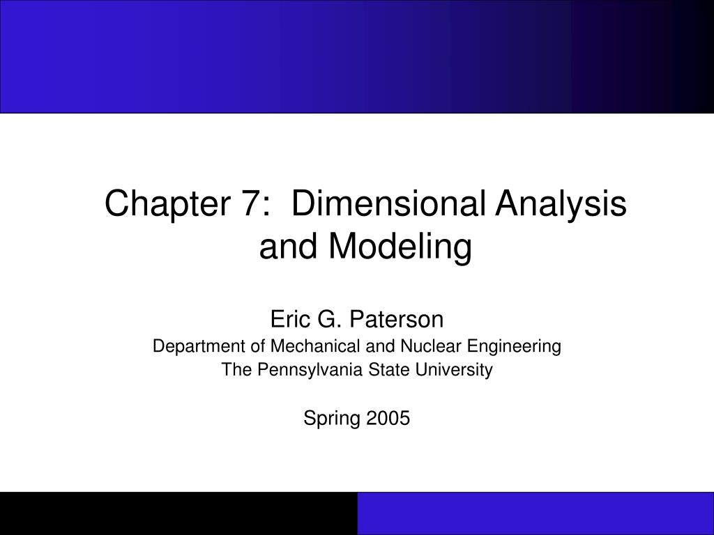 chapter 7 dimensional analysis and modeling l.