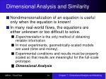 dimensional analysis and similarity
