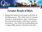greater reach of bqa