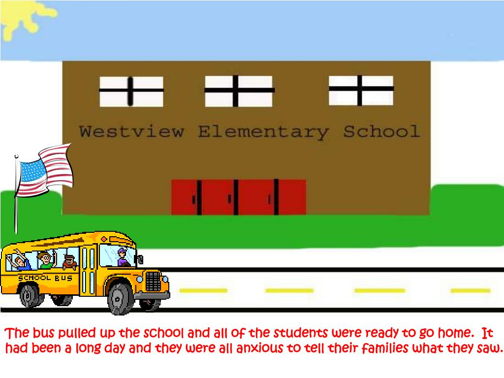 The bus pulled up the school and all of the students were ready to go home.  It