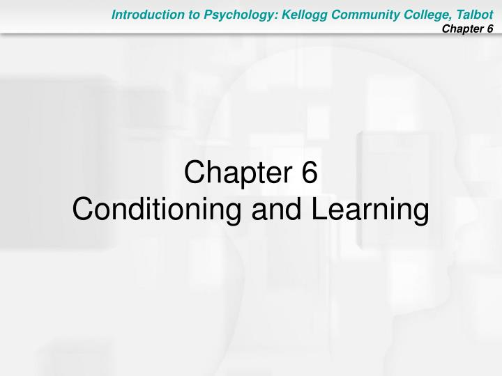 Chapter 6 conditioning and learning
