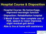 hospital course disposition
