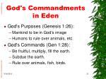 god s commandments in eden