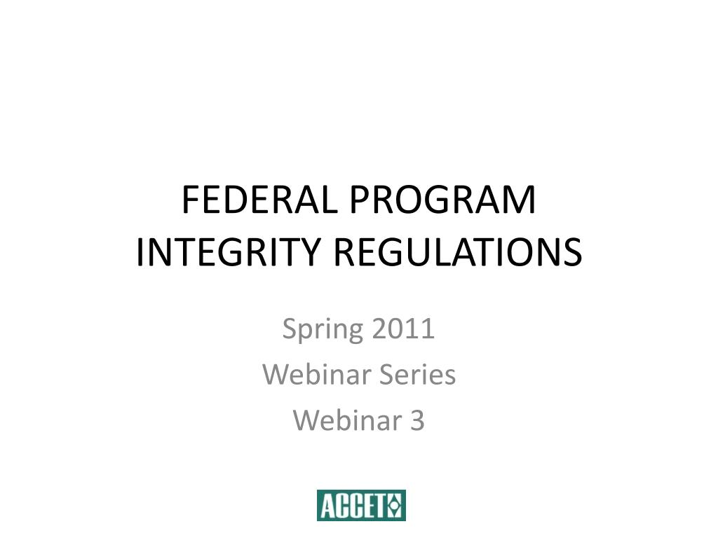 federal program integrity regulations