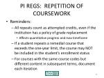 pi regs repetition of coursework38