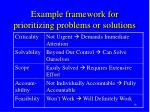 example framework for prioritizing problems or solutions