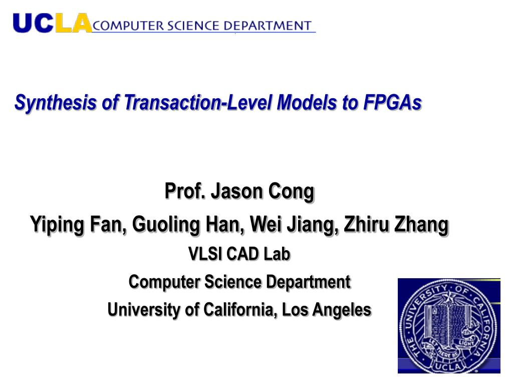 synthesis of transaction level models to fpgas l.
