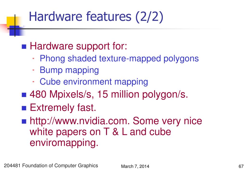 Hardware features (2/2)