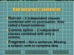 bad incorrect sentences