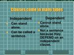 clauses come in many types