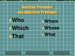 relative pronouns aka adjective pronouns