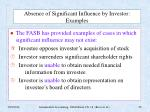 absence of significant influence by investor examples