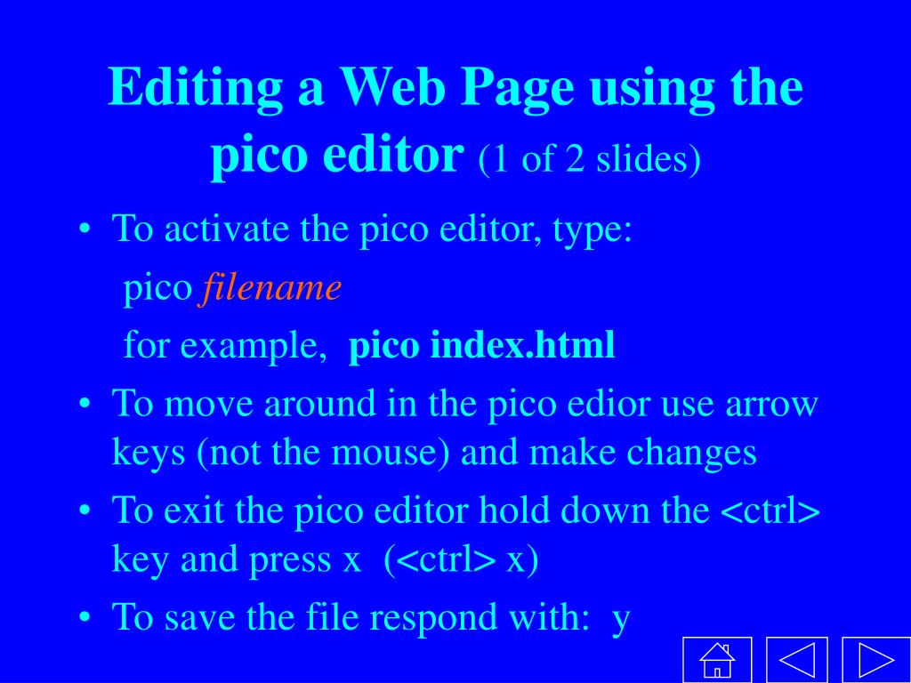 Editing a Web Page using the pico editor
