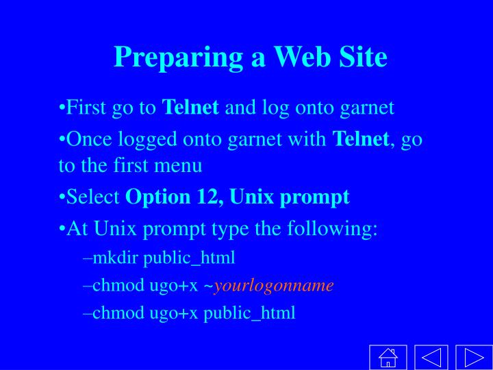 Preparing a web site