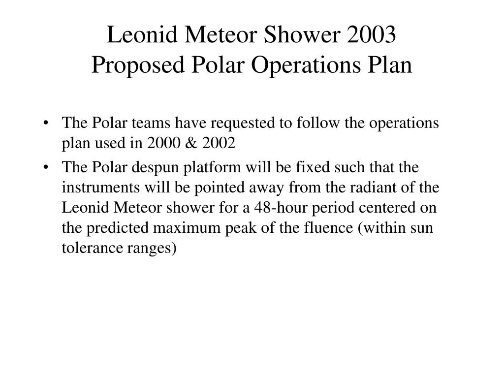 leonid meteor shower 2003 proposed polar operations plan l.