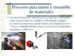 procesos para uni n y ensamble de materiales
