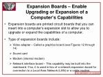 expansion boards enable upgrading or expansion of a computer s capabilities