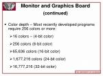 monitor and graphics board continued