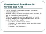 conventional practices for circles and arcs