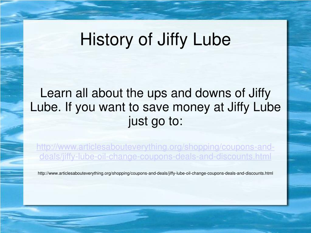 history of jiffy lube l.