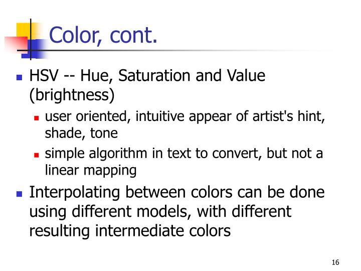 Color, cont.