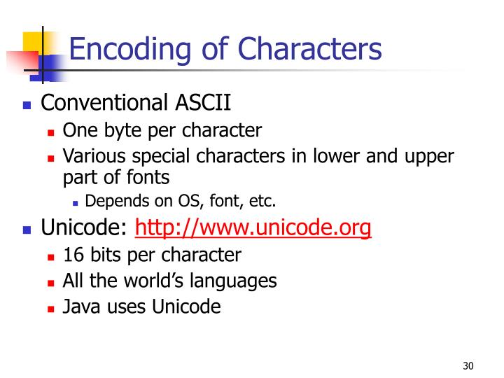Encoding of Characters
