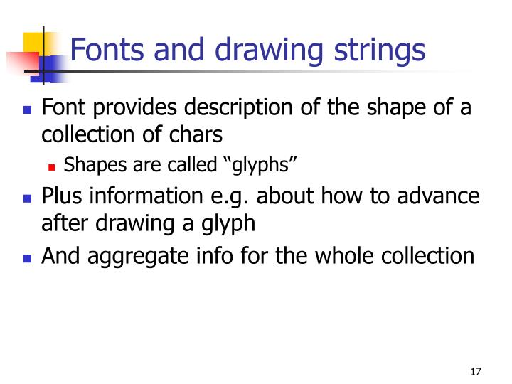 Fonts and drawing strings