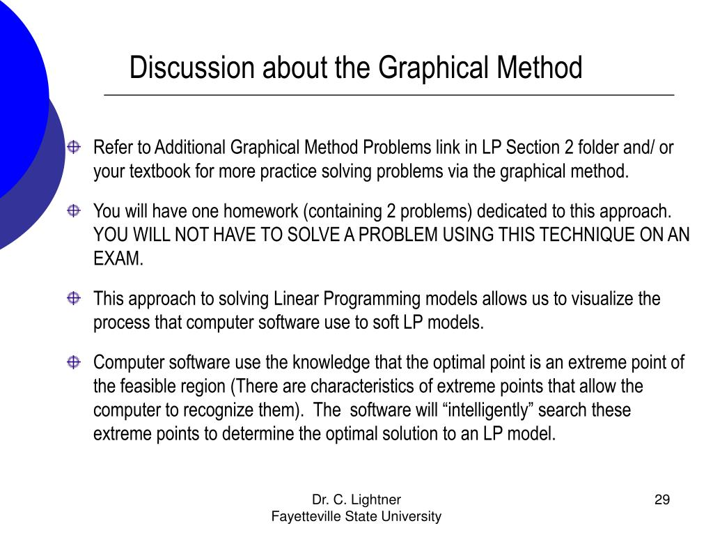 Discussion about the Graphical Method