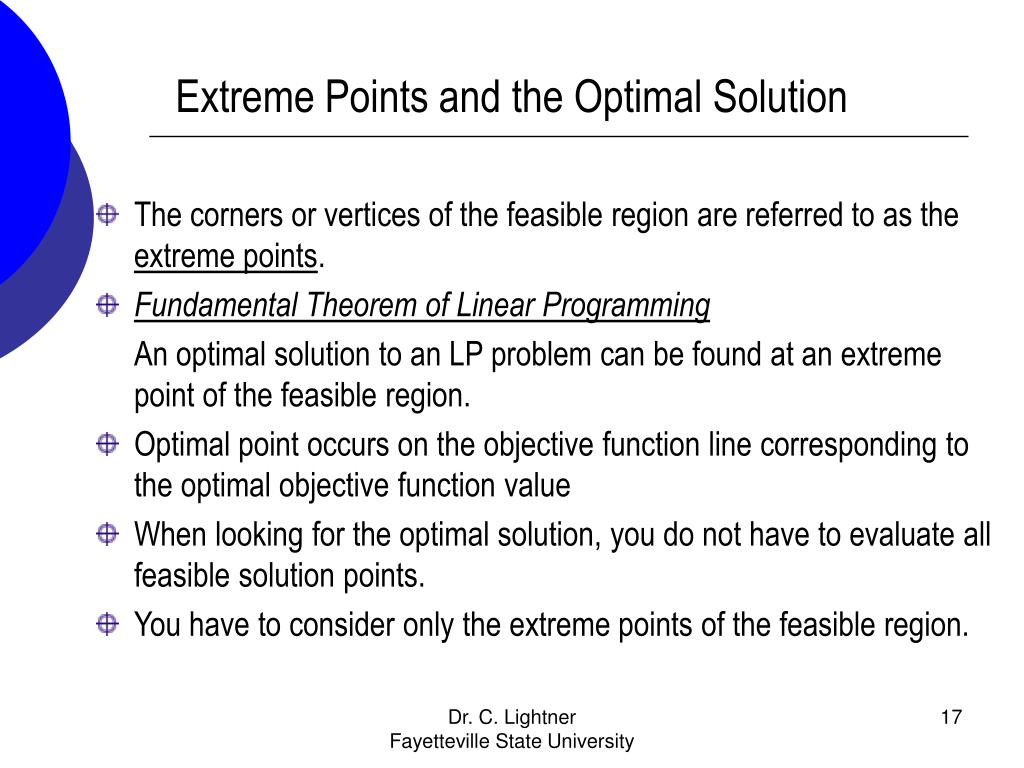 Extreme Points and the Optimal Solution