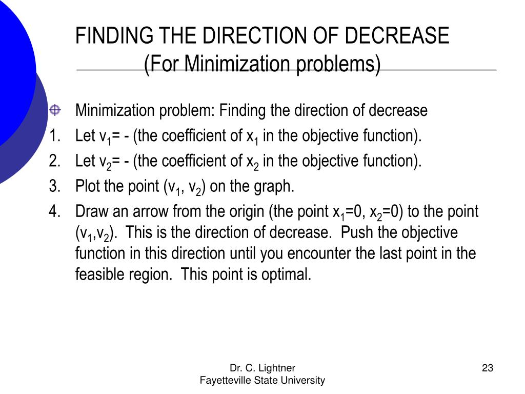 FINDING THE DIRECTION OF DECREASE