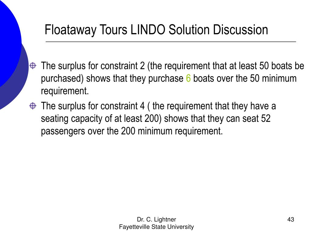 Floataway Tours LINDO Solution Discussion