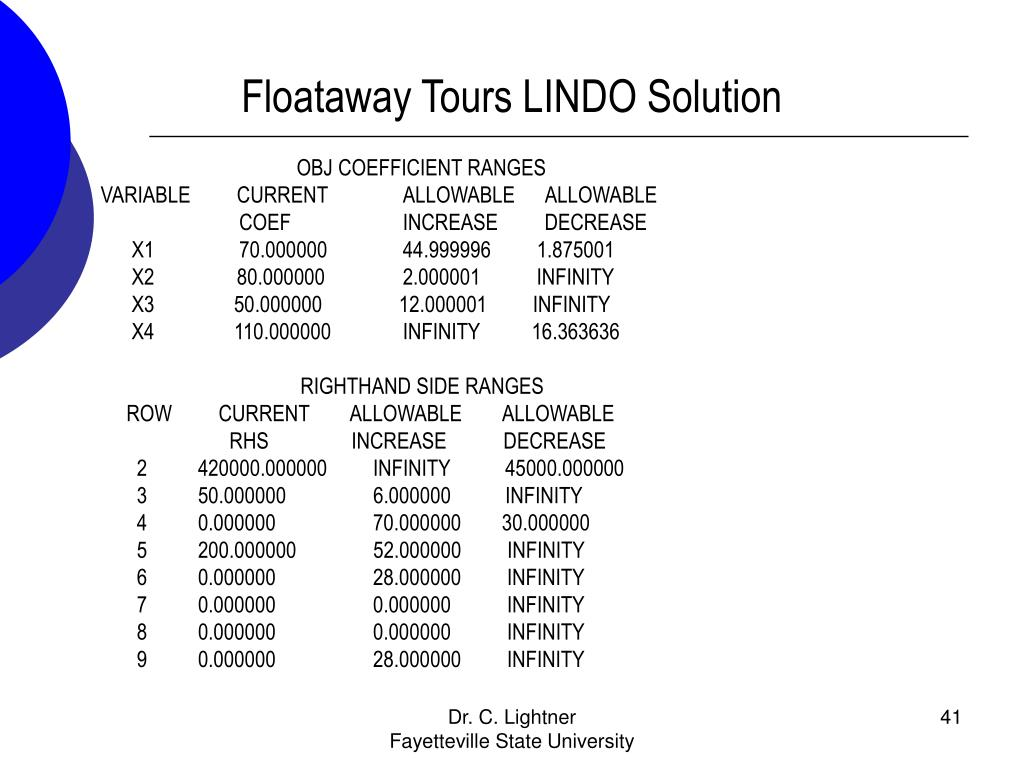 Floataway Tours LINDO Solution