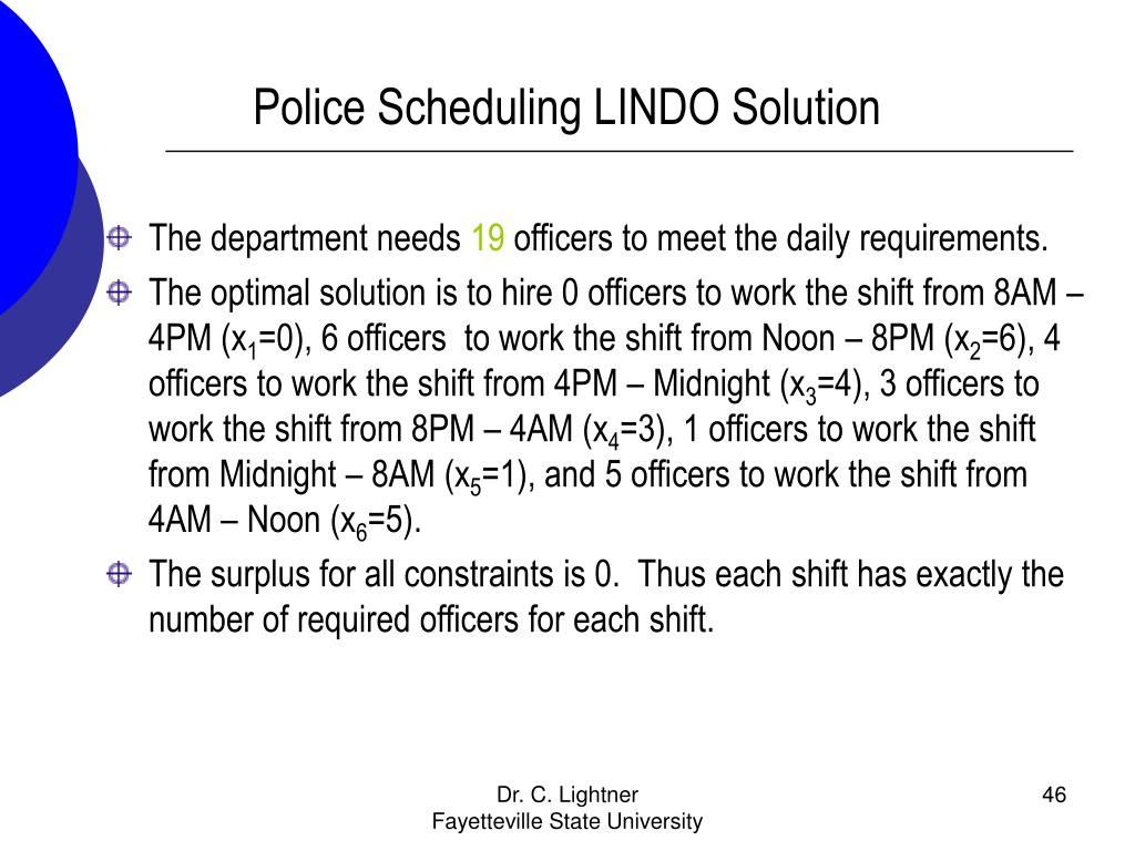 Police Scheduling LINDO Solution