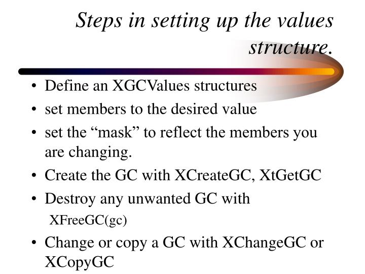 Steps in setting up the values structure.