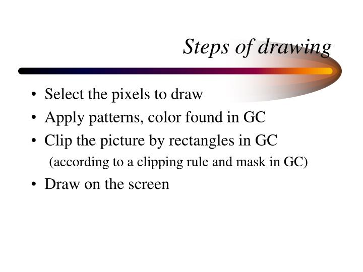 Steps of drawing