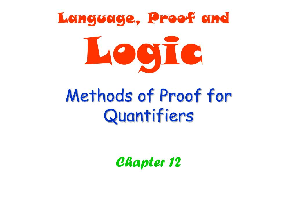 methods of proof for quantifiers l.