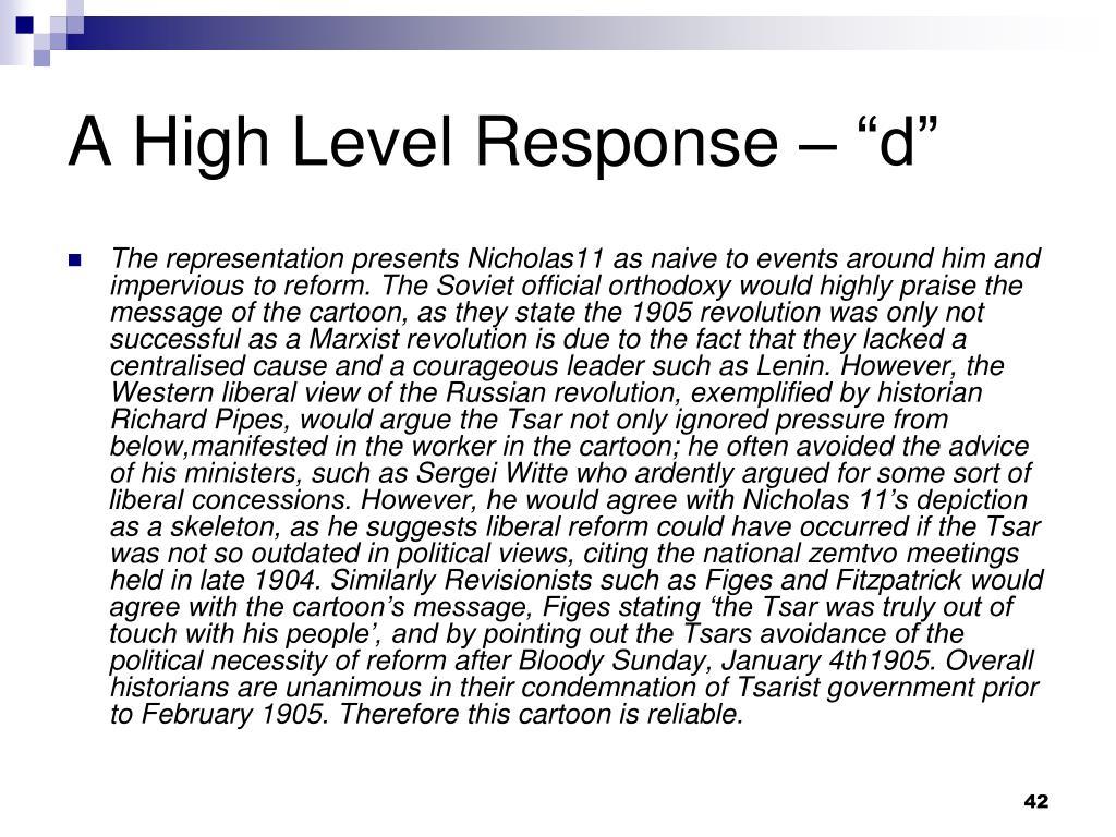 "A High Level Response – ""d"""