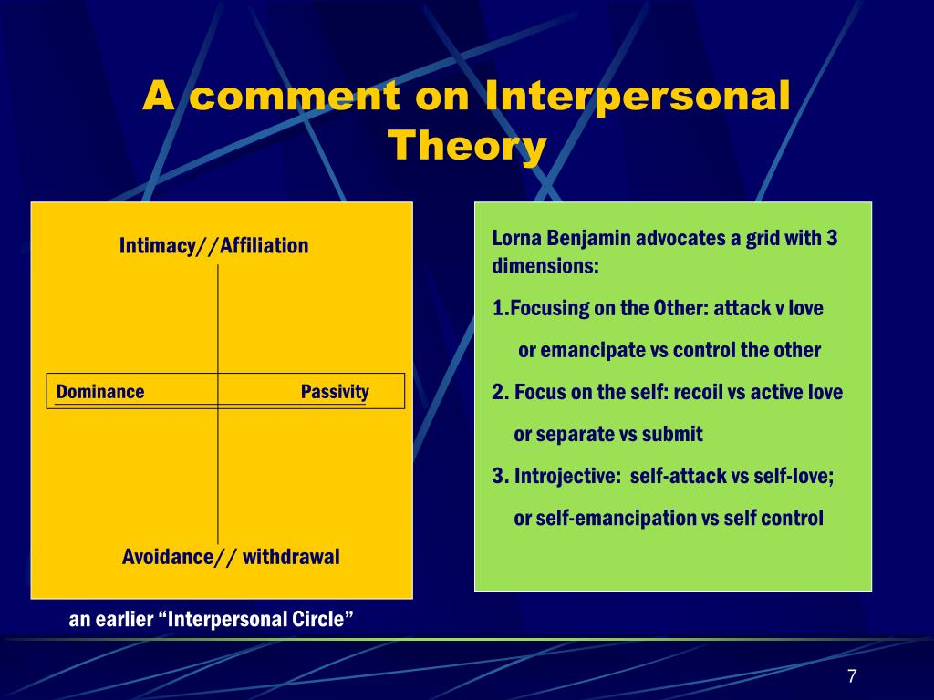 A comment on Interpersonal Theory