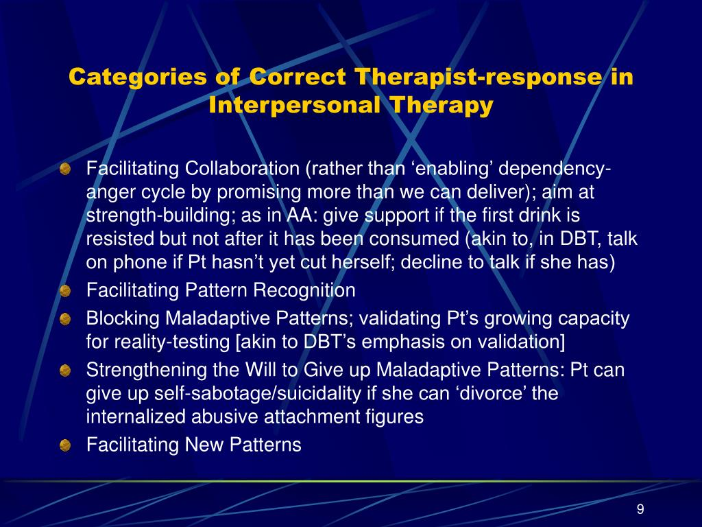 Categories of Correct Therapist-response in Interpersonal Therapy
