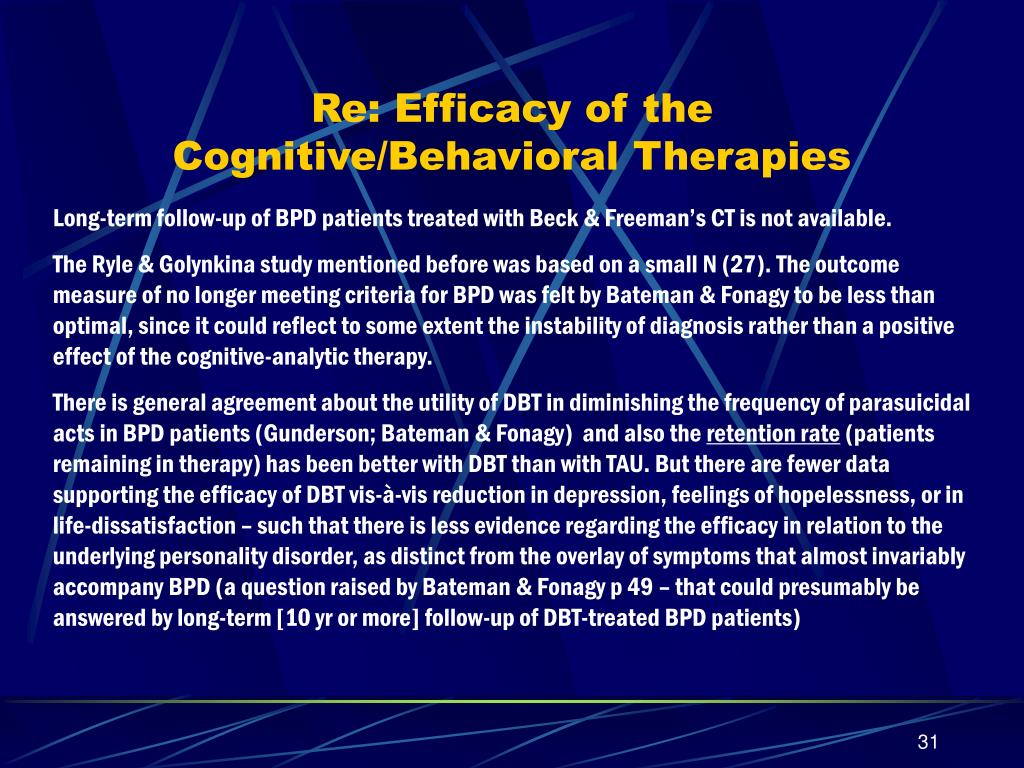 Re: Efficacy of the Cognitive/Behavioral Therapies