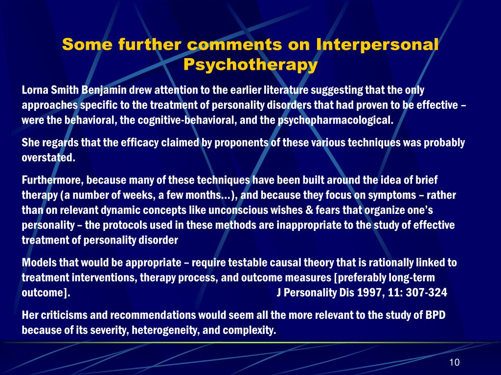 Some further comments on Interpersonal Psychotherapy