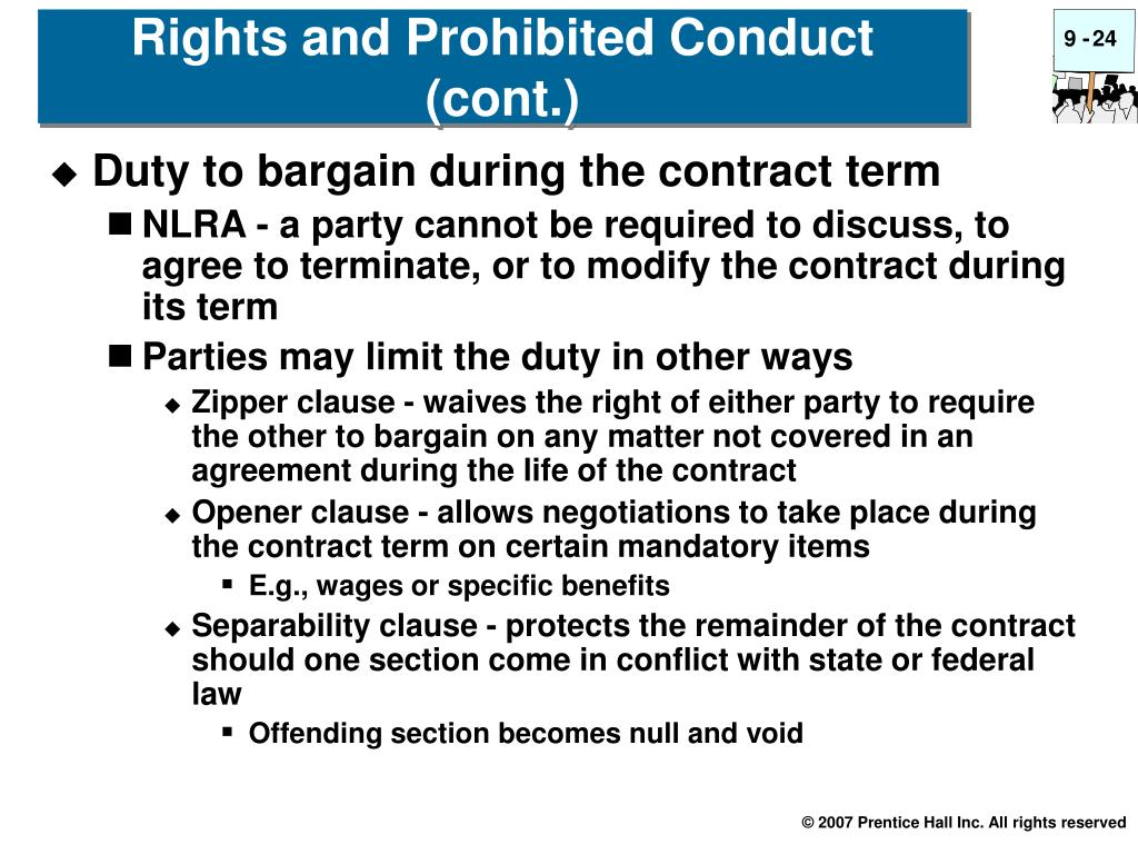 Duty to bargain during the contract term