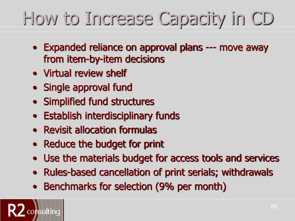 How to Increase Capacity in CD