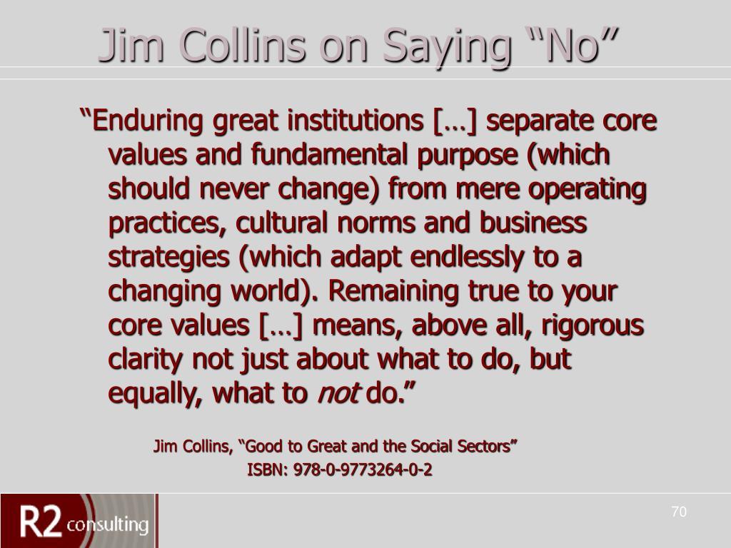 """Jim Collins on Saying """"No"""""""