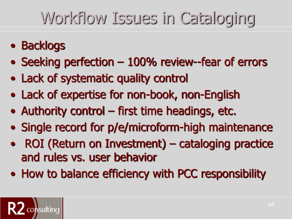 Workflow Issues in Cataloging